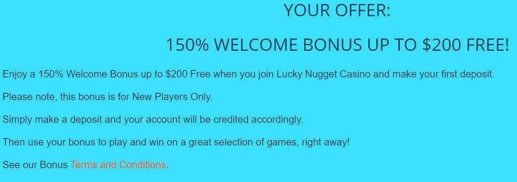 lucky nugget online casino bonus